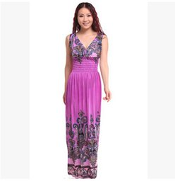 Wholesale Bohemian Graceful Dress - Women dresses Plus sizes fashion dress maxi dress women graceful printed beach dress Bohemian style free size free shipping