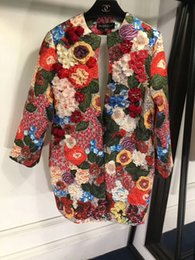 Wholesale Loose Rhinestone Vintage - Free Shipping New High-End Women's Wholesale Coat Handmade Stereo Rose Vintage Print Fashion Parterious Loose Extra Thin Jacket Jacket