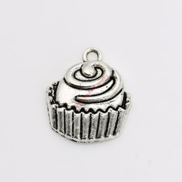 Wholesale Cake Plates Wholesale - 10pcs Antique Silver Plated Cake Charms Pendants for Necklace Jewelry Making DIY Handmade Craft 22x19mm