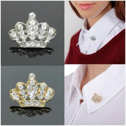 Wholesale Men Wedding Crowns - Crown Brooch for women Vintage Rhinestone Crystal Breastpin Collar Pin for men Jewelry Gifts Shape Princess Brooch Dress Pin