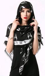 Wholesale Designers Scarves Women - cotton wool women ghost Scarves Fashion Brand Designer Scarf Women Double Light Style Skulls Scarf Long Shawl Stars Pashmina XMAS gift