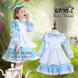Wholesale Coffe Shop - Girl Japanese Cosplay Costume Alice In Wonderland Kids Maid Coffe Shop Lolita Dress Fantasia Carnival Costumes For Kid Child