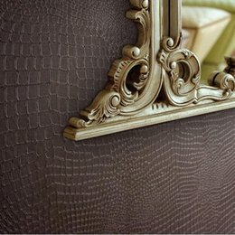 Wholesale Leather Wallpaper White - Fashion Modern Design Wallpaper Faux Crocodile Skin Leather Wall Paper White Grey Brown Wallpaper Roll For Living room,Bars