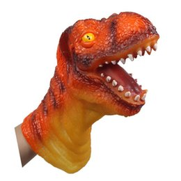 Wholesale Dinosaurs Puppets - Wholesale-Animal Glove Puppet Hand Dolls Rubber Dinosaur Hand Puppet Story Telling Props Funny toys Simulation Animal Dinosaur Head Doll