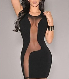 Wholesale Transparent Womens Clothes - Wholesale-Womens Clothing sexy Half Slips intimate Black sexy transparent mesh mosaic nightgown