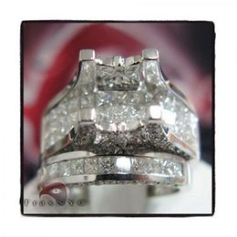Wholesale Diamond Semi Mount Stone - Ladies Women Diamond Semi Mount Ring Princess Cut VS1 18k White Gold 4.20ct