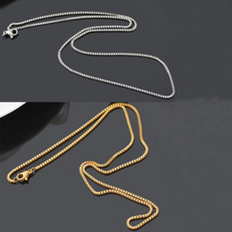 Wholesale Gold Plate Boys Chain - Fashion Box Chain 18K Gold Plated Chains Pure 925 Silver Necklace long Chains Jewelry for Children Boy Girls Womens Mens 1mm 2016