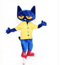 Wholesale Costume Party Dresses - 2018 brand new High Quality Free shipping Adult Size Blue Pete the Cat Costume Pete Cat Mascot Halloween Christmas Party Fancy Dress
