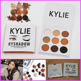 Wholesale Eyeshadow Palette Set Kit - IN STOCK Kyshadow Kit Kylie Jenner Pressed Powder Eye Shadow Palette Kylie Cosmetics Bronze Palette Waterproof Eyeshadow 9 colors set