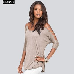 Wholesale Low Cut Top Sleeves - 2016 Women Autumn Plunge T-shirt Long Sleeve Lady Tops V Neck Blouse Sexy Low Cut Tee