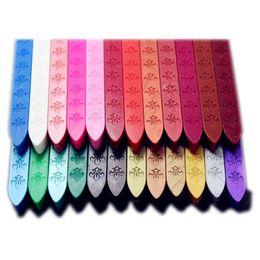 Уплотнительные восковые палочки онлайн-Оптовая продажа-многоцветный воск печать печать печать восковые палочки печать воск клей