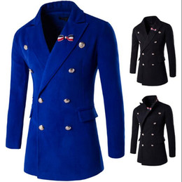 Wholesale L Brooch - Fashion Woolen Men Jackets With Brooches Winter Casual Slim Wool Coats Solid Color Wool & Blends Warm Coats Overcoat for Men