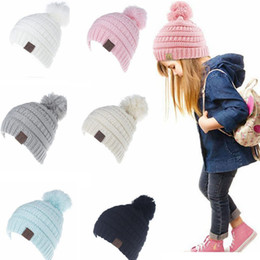 Wholesale Print Beanie - CC Beanie Kids Knitted Hats Kids Chunky Skull Caps Winter Cable Knit Slouchy Crochet Hats Outdoor Warm Beanie Cap KKA2280