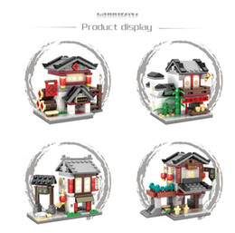 Wholesale Plastic Building Blocks China - 4 kinds set Chinese culture Mini Street View China Street Ancient Architecture Model 2 in 1 kids Building Blocks Toys #5005