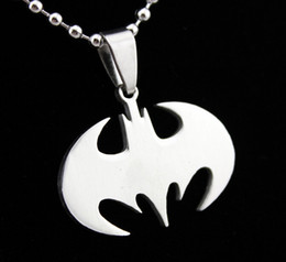 Wholesale Batman Charms - Fashion necklaces Batman Pendant 316L Stainless Steel necklace pendant Drop Charm women men jewelry