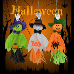 Wholesale Ghost Pendants - Cute kindergarten Halloween Straw Ghost Pendant Hanging Decorations For Home Bar Party Decor Horror Props Supplies