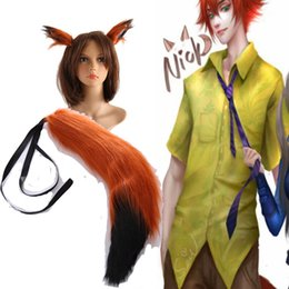Wholesale Brown Cosplay Tail - Hot Movie High Quality Zootopia Fox Nick Wilde Cosplay Ears and Tail Cos Accessories Free Size