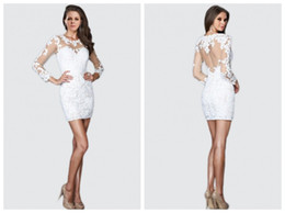 Wholesale Long Sleeved Mini Prom Dress - Tee sheath Cocktail Dresses 2016 new long-sleeved lace applique Prom mini skirts sexy backless fashion party Evening Gown plus size