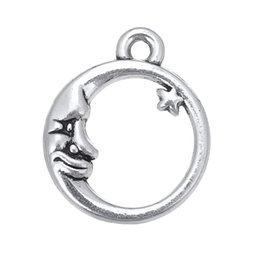 Wholesale Crescent Moon Bracelet - Free shipping 16.1*19.6mm Antique Silver Plated Crescent Moon And Star Charm fit Bracelet 20pcs jewelry making