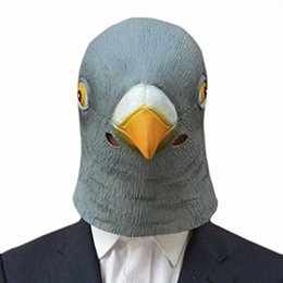 Canada Masque de tête de pigeon en gros-Latex prop animal cosplay costume Party Halloween masque de tête d'oiseau géant cheap animal masks wholesale Offre