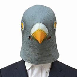 Máscaras trajes de animales online-Máscara de cabeza de paloma espeluznante al por mayor-Látex Prop Animal Cosplay fiesta de disfraces de Halloween Máscara de cabeza de pájaro gigante