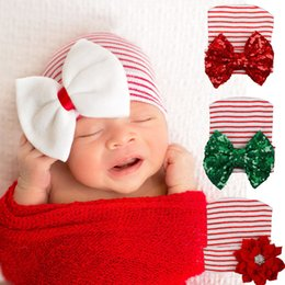 Wholesale Hats Christmas Sequins - Striped Baby Bow Hat Newborn Baby Infant Girl Toddler Christmas Baby Hat Sequins Bowknot Cotton Knit Beanie Infant Striped Caps Toddler Hat