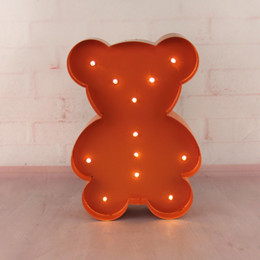 Wholesale Bear Sign - Wholesale- 12inch metal little bear light LED Marquee Sign LIGHT UP night light child's room Deration