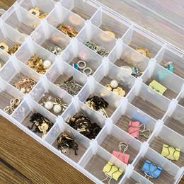 Wholesale Small Compartment Storage Boxes - Wholesale- Adjustable 24 Compartment Transparent Plastic Storage Box Jewelry Earring Case small objects Caja de almacenaje V4330