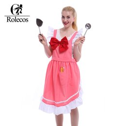 Wholesale Pink Kitchen Accessories - Wholesale-Japan Amine CARDCAPTOR SAKURA Cosplay Aprons Cute Pink Vintage Bowknot Apron Clothing Kitchen Accessories Fashion Overalls