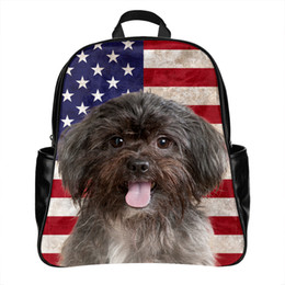Wholesale Backpack Pictures - Personalized Custom Designer Funny Affenpinscher Dog Picture 3d Printing Backpack School Bag Laptop for Boys Girls Men Women PU Leather