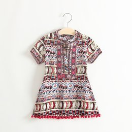 Wholesale Leopard Dresses For Summer - Summer kids dress baby girl short sleeve Bohemia dress floral dress embroidery tassels dress for 1~7 years