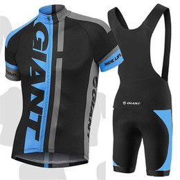 Wholesale Giant Outdoor - 2015 Newest Giant Outdoor Cycling Wear Cycling Jerseys Blue Black Color Short Bike Clothing Top+Padded Cycling Bib Shorts Suit Quick Drying