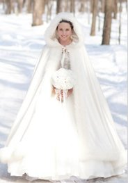 Wholesale Cheap Faux Coats - 2016 cheap Winter Bridal Cape Faux Fur coat Christmas Cloaks Jackets Hooded For Winter Bridal Wraps For Wedding Dresses floor length