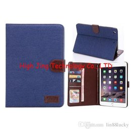 Wholesale Cover Book Leather Ipad Mini - Folio Book Style Jean Denim Cowboy Wallet Leather Case Cover Credit Card Holder Smart Pouch For Apple iPad mini 2 3 4