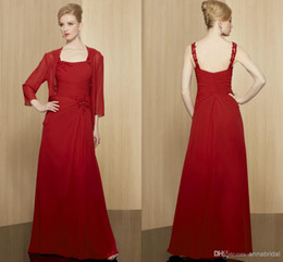 Wholesale Women Evening Jackets - Red Long Mother of the Bride Groom Dresses with Jacket Bolero Chiffon Spaghetti Elegant Pleats Beaded Sequins Women Formal Evening Gown 2017