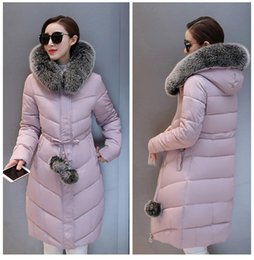 Wholesale Long Padded Hooded Coats Women - Down Parka Winter Jacket Women Cotton Padded Thick Ultra Light Long Coat Faux Fur Collar Hooded Female Jackets For Woman