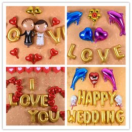 Wholesale Wholesale Price Cake Toppers - Fashion Love Rose Gold Foil Balloon Birthday Wedding Party Anniversary Décor gold letters Aluminum foil balloons on hot selling in low price