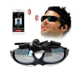 Wholesale Glasses Sport Video - Smart Glasses Bluetooth Sunglasses Black Sports Hi-Fi Setero Headset MP3 Player Bluetooth Phone Bluetooth Eyeglasses Audio Video Recorder