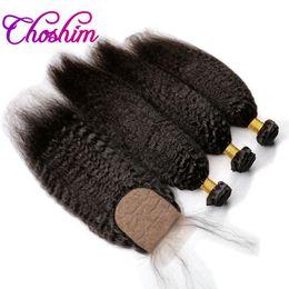 fermeture à la base de soie Promotion Choshim Slove Cheveux Soie Base Fermeture avec 3 Bundles Remy Cheveux Pour Noir Femme kinky Droite Base de Soie Fermeture avec 3 ou 4 Bundles 10A