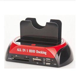 "Wholesale Hdd Docking Dock Station - 20pcs lot 2.5"" 3.5"" SATA   IDE 2 Double - Dock HDD Docking Station e- SATA   Hub External Storage Enclosure Parts Free Shipping"