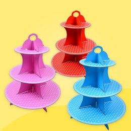 Wholesale paper racks - 3 Tier Cupcake Stand Thicker Paper Foldable Cake Rack Four Colors Dot Dessert Racks PartySupplies New 4hq B R