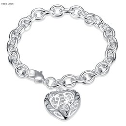 Wholesale Charm Bracelets Low Price - Hot 925 Silver hollow heart pendant charm bracelet woman fashion jewelry Valentine's Day gift low price wholesale free shipping