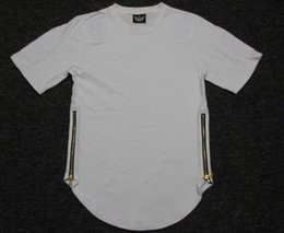 Wholesale Tyga T Shirts - New 2016 Kanye West tees with zipper Length Extenders oversized Tyga extender t shirt Tyga cool oversized T shirt