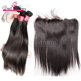 Wholesale Cheap Remy Full Weaves - 7A Cheap Indian Temple Lace Frontal Closure Human Hair 13x4 Bleached Knots Remy Straight Full Lace Frontal Pieces Ear to Ear Fast Shipping