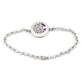 """Wholesale Locket Sets - tree of life 25mm Magnet Aromatherapy Essential Oils Stainless Steel Diffuser Perfume Locket bracelet(length8.6"""") include 10pcs felt pads"""