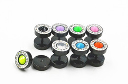 Wholesale Ear Plug Gem - 50pcs All Black with Gems New Stainless Steel Fake Plugs Cheater Tunnels Illussion Ear Plugs Earring Ear Studs 10mm Free shippment
