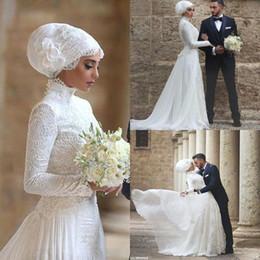 Wholesale Muslim Robes - Long Sleeves Muslim Wedding Dress 2016 High Neck Lace Long robe de mariage Islamic Arabic Wedding Dresses with Hijab BA1023