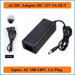 2019 fontes de alimentação reguladas de 12 vcc 12 V 5A EUA Plug AC DC Adaptador AC110V 220 V Conversor para DC12V 60 W Carregador de Alimentação para LED Strip / Monitor LCD / Câmera CCTV
