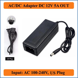 Wholesale Dc Power Plug Camera - 12V 5A US Plug AC DC Adapter AC110V 220V Converter to DC12V 60W Power Supply Charger for LED strip Light LCD Monitor CCTV Camera