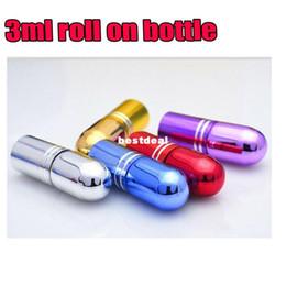 Wholesale Tiny Perfume Vial - 1000pcs 3ml 3CC Glass Roll On Bottle Mini Essential Oil Bottle Refillable Tiny Perfume Glass Vials 5 Colors
